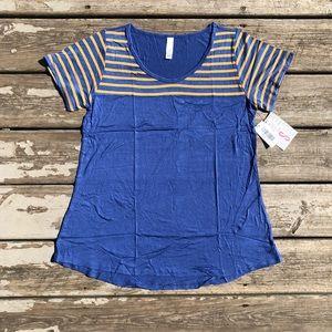 NWT LuLaRoe Blue Yellow Stripe Classic T sz Small